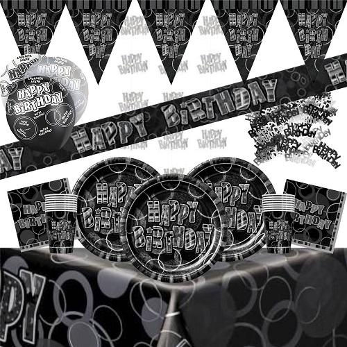 Black & Silver Glitz Partyware