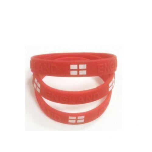 CLEARANCE  St George Cross England Flag Rubber Bracelets x 3